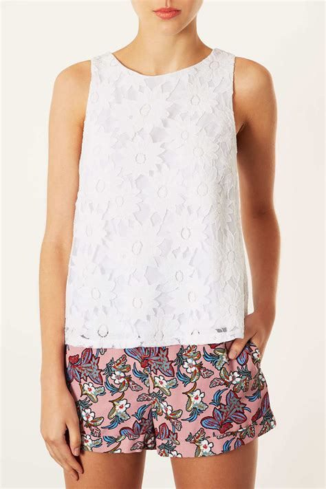 white swing top lyst topshop daisy lace swing top in white