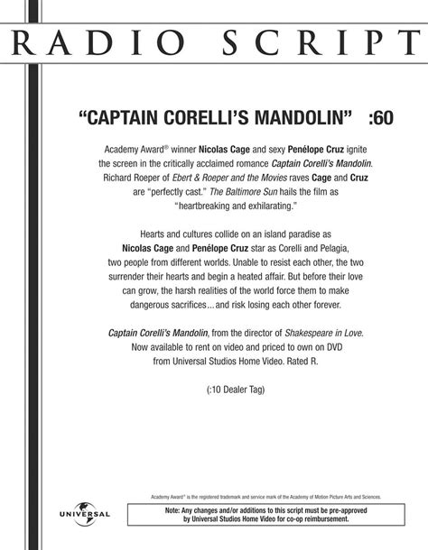 radio script template radio script captain corelli s mandolin exles of work