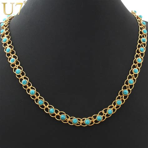 real stones for jewelry aliexpress buy trendy turquoise necklaces 18k real