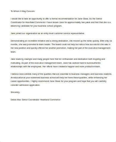 Michigan Mba Common Letter Of Recommendation by Sles Of Recommendation Letter 8 Exles In Word Pdf
