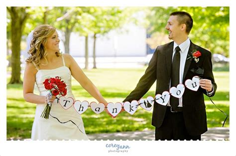 Wedding Holding Thank You Sign by And S Wedding In Elyria Corey Photography