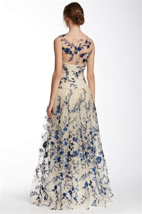 embroidery design gown marchesa illusion neck floral embroidered gown jakarta
