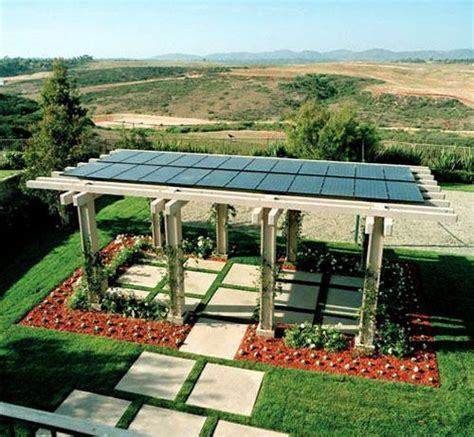 Solar Panels On Pergola Roof Landscaping Outdoor Solar Panel Pergola