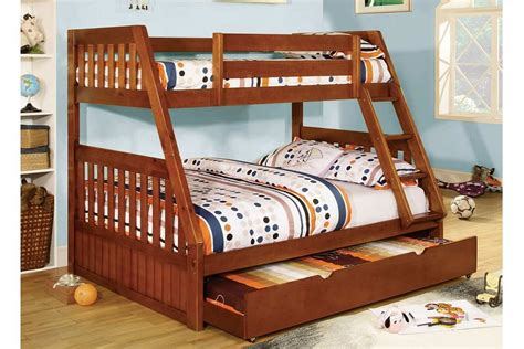 twin over full bunk bed with trundle twin over full canberra oak mission style angled bunk bed