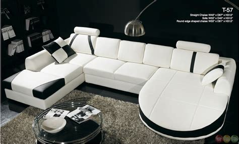 divani casa black and white leather sectional sofa dual