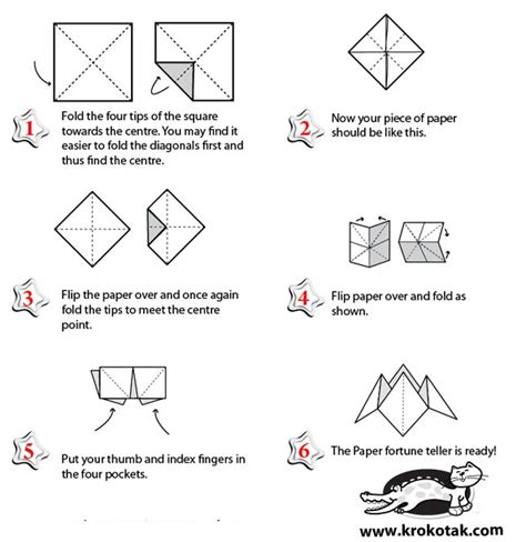 How Do You Make A Fortune Teller Paper - krokotak paper fortune teller origami