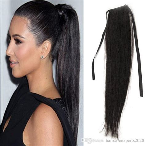 how to wear clipins black women 7a human hair ponytail wig natural black 100 remy