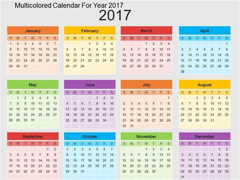 Multicolored Calendar For Year 2017 Flat Powerpoint Design Powerpoint Calendar Template 2017