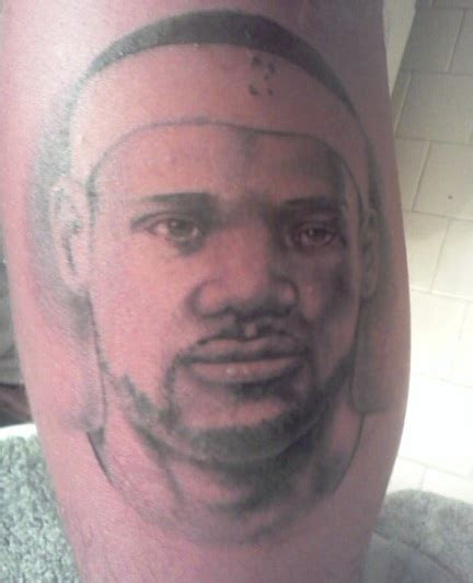lebron tattoos fan gets lebron on his leg lebron surprised