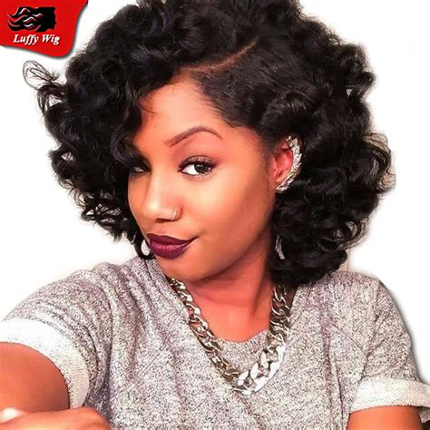 short sides with long weave at front hair style high quality curly full lace brazilian bob wigs side part