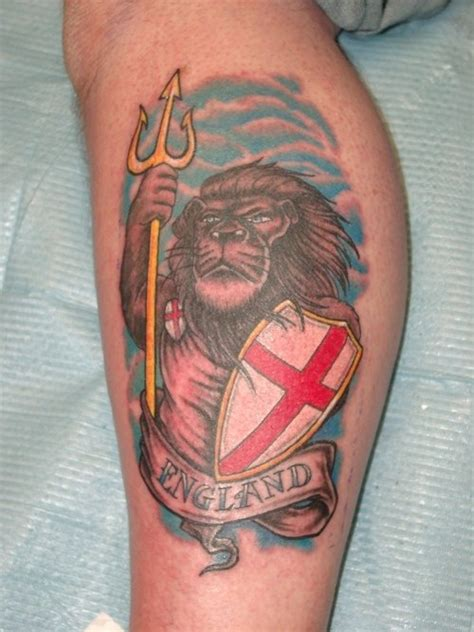 england tattoos for men patriotic with holding shield