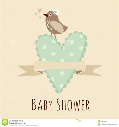 invite baby shower vector baby shower invitation birthday card with bird heart