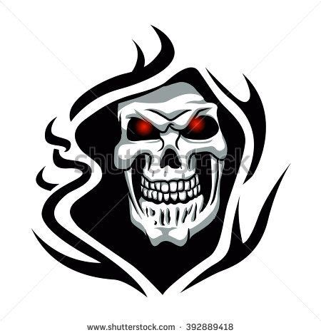 reaper tribal tattoo skull tribal grim reaper vector