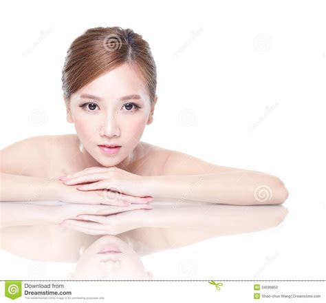 Basinger Skincare Model by With Mirror Reflection Stock Photo