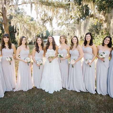 light grey dress wedding guest light gray bridesmaid dresses with small bouquets