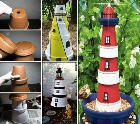 lighthouse home decor clay pot lighthouse for garden decor amazing diy