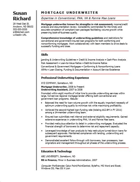 Sle Resume Mortgage Underwriter Position Mortgage Underwriter Resume Sle 28 Images Resume Exle Insurance Underwriter Resume Sle