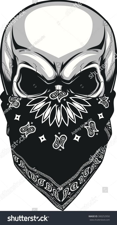 bandana on skull bandana stock vector 300252950