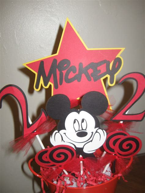 Mickey Mouse Table Decorations by Items Similar To Mickey Mouse Birthday Centerpiece Table
