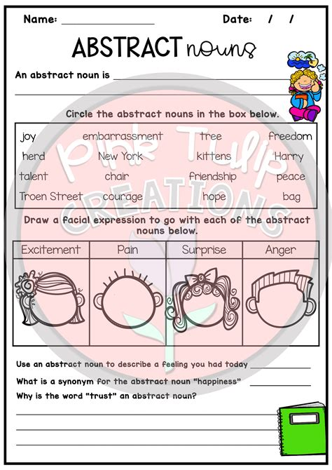nouns worksheet pack common proper abstract