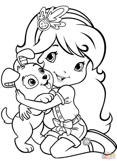 coloring book pages strawberry shortcake strawberry shortcake with pupcake coloring page free