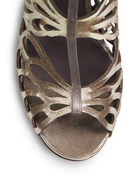 Sandal Wanita Silver Avr 201 jimmy choo fyonn laser cut metallic leather sandals in metallic lyst