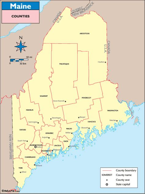 maine map with counties maine counties and county seats map by maps from maps