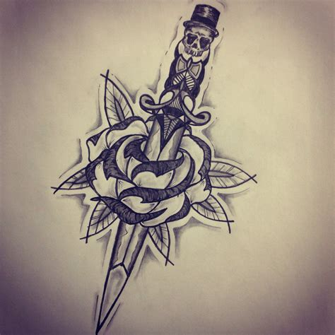 dagger through rose tattoo new traditional dagger sketch by ranz