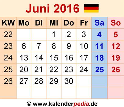 Juni Kalender 2016 Kalender Juni 2016 Als Excel Vorlagen