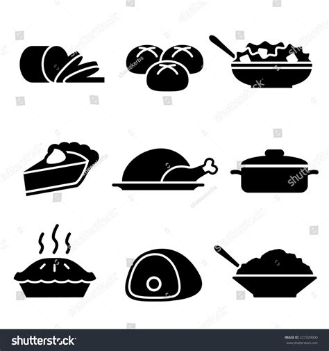 dinner silhouette turkey dinner icons stock vector illustration 227329900