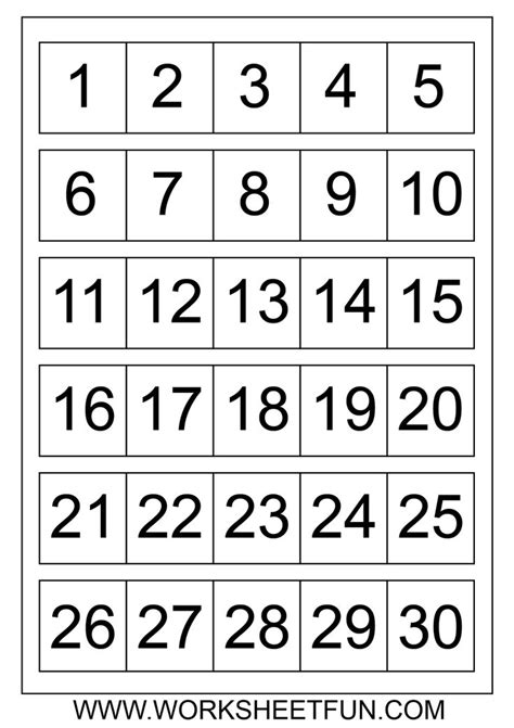 large printable number cards 7 best images of printable number chart 1 30 number