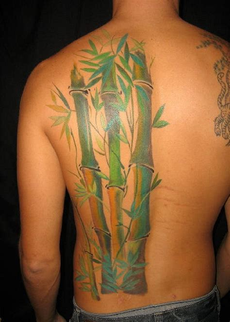 cool bamboo tattoo on back body for men tattooshunt com