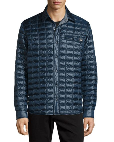 Quilted Shirt Jacket by The Reyes Thermoball Quilted Shirt Jacket Navy
