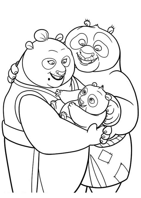 free coloring pages of monkey kung fu panda po with his parent in kung fu panda coloring page