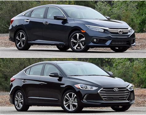 2016 honda civic and hyundai elantra photos to
