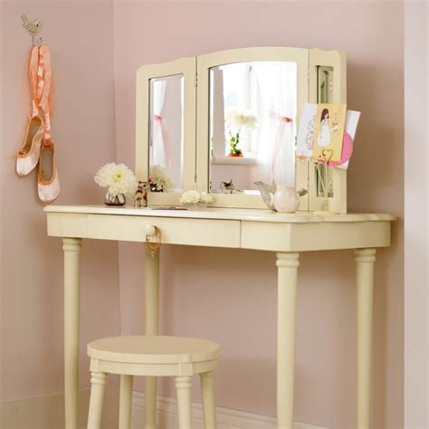 Narrow Makeup Vanity Table Furniture Rectangle White Vanity Table With Lighted Wall Mounted Mirror Next To Narrow