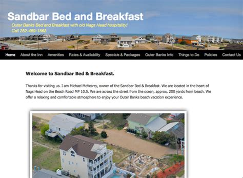 bed and breakfast website sandbar bed and breakfast outer banks website design