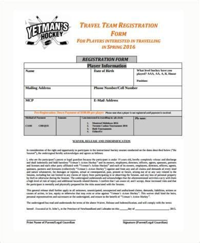 Sle Travel Registration Forms 8 Free Documents In Word Pdf Team Registration Form Template