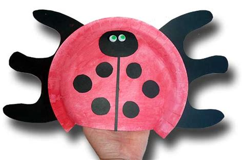 How To Make A Paper Plate Puppet - paper crafts for children 187 paper plate ladybug puppet