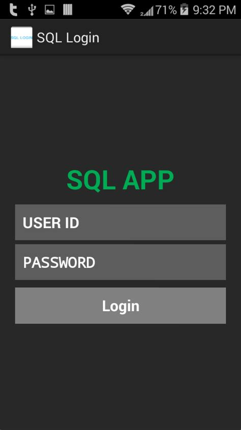 login page in relativelayout android login application using ms sql server and