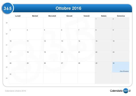 Calendario Ottobre Calendario Ottobre 2016