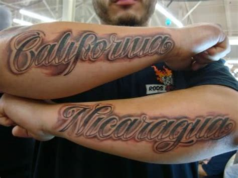 california lettering tattoo on forearm
