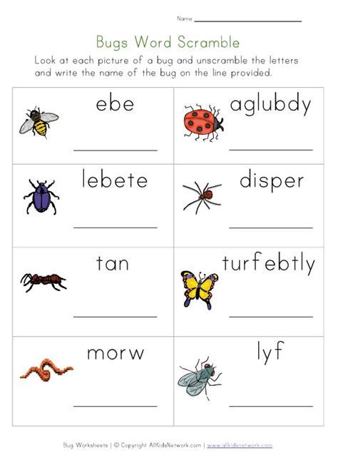 kids bug and insects worksheets bug names scramble worksheet math games activities