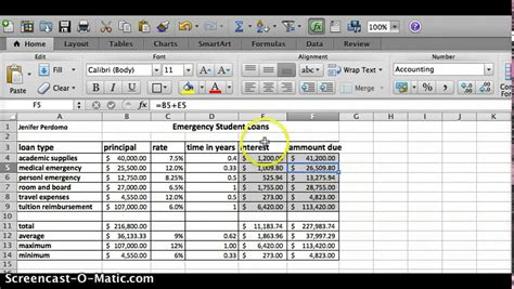 Loan Excel Spreadsheet by Emergency Student Loans Excel Spreadsheet