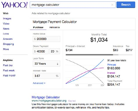 search based mortgage calculator on yahoo search