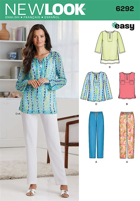 pattern sewing tunic 6292 misses tunic or top and pull on pants this easy to