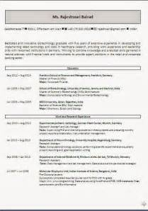 Resume Format For Biotechnology Freshers by Cv Resume