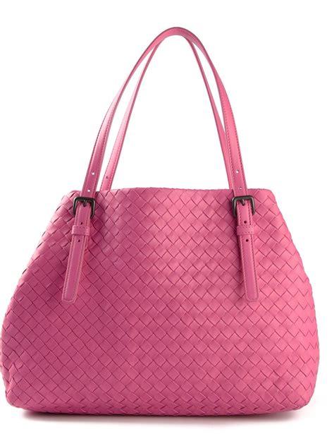 Bottega Veneta Medium Canvas Handbag by Lyst Bottega Veneta Medium Intrecciato Tote In Pink