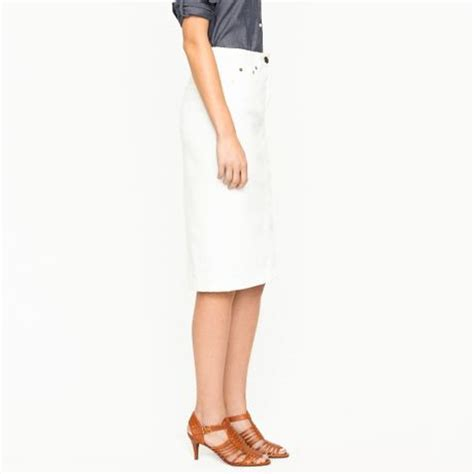 j crew high waisted denim pencil skirt in sunwhite wash in