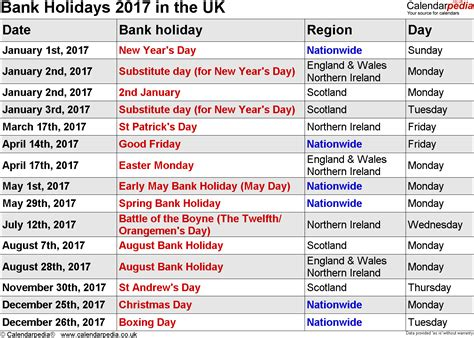 easter 2016 calendar with holidays uk bank holidays 2017 in the uk